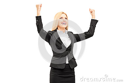 Young professional woman gesturing happiness