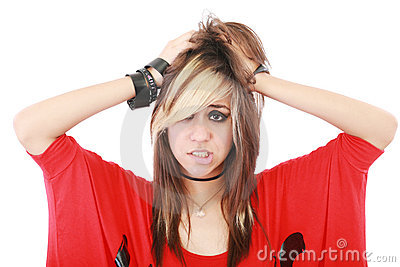 Young punk woman in desperation gesture