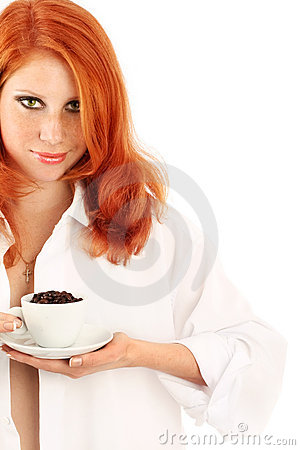 Young red-haired girl and coffee