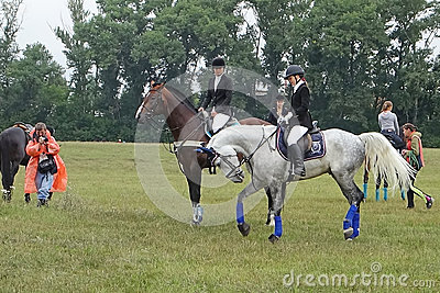 Young rider show jumping in the warm Editorial Stock Photo