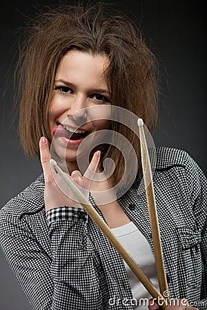 Young rock teen girl
