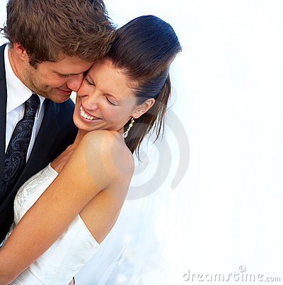 Young romantic couple with lots of copy space