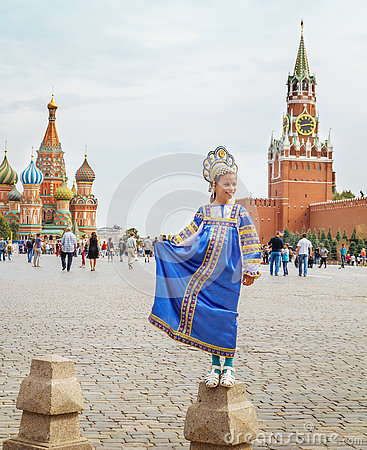 Free Young Russian Girl Wearing Traditional Costume At Red Square In Moscow Stock Image - 79475921