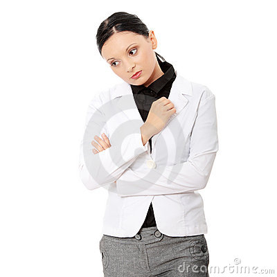 Young sad business woman