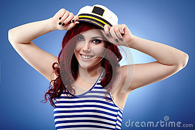 Young sailor girl in closeup