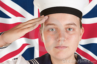 Young sailor saluting in front of union jack