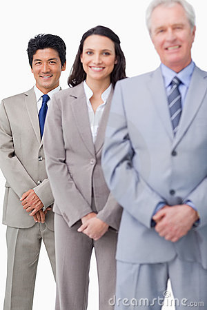 Young salespeople together with mentor