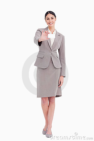 Young saleswoman showing her blank business card