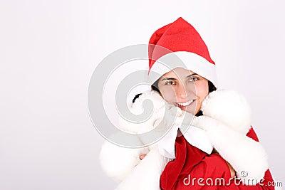 Young santa woman celebrating christmas holidays