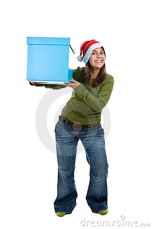 Young santa woman holding giant blue present box