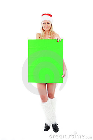 Young Santa woman holding green blank banner
