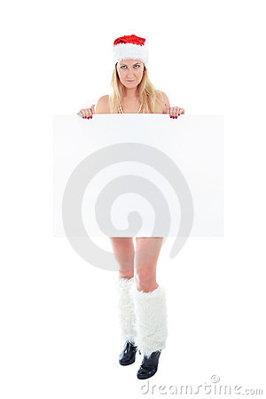 Young Santa woman holding white blank banner