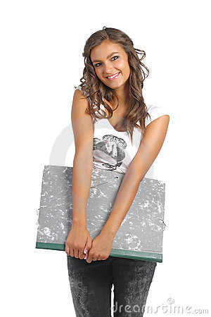 Young school girl posing with a drawing holder