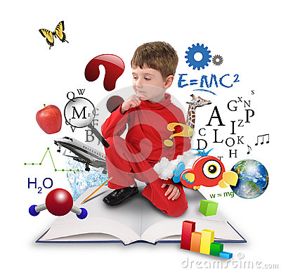 Free Young Science Education Boy On Book Thinking Stock Photos - 24636253
