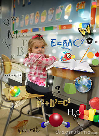 Young Science Math Girl at School Learning