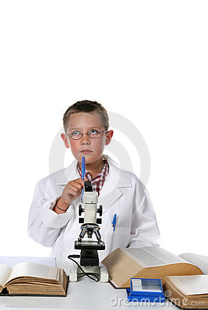 Young scientist putting his pen to his chin