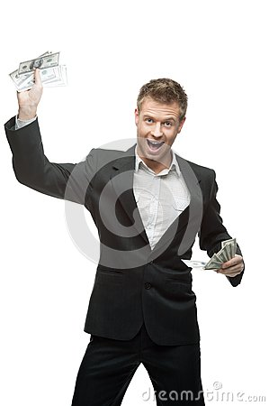 Young screaming businessman holding money
