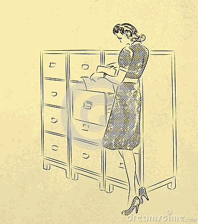 Young secretary looking for documents