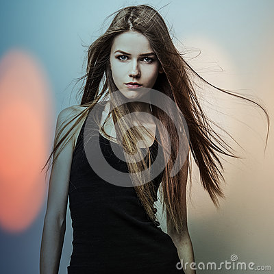 Free Young Sensual Romantic Beauty Woman. Multicolored Pop Art Style Photo. Royalty Free Stock Photo - 34583855