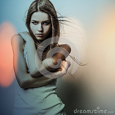 Young sensual romantic beauty woman. Multicolored pop art style photo.