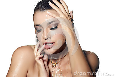 Young Sensuality Woman with Wet Makeup. Beauty and Fashion