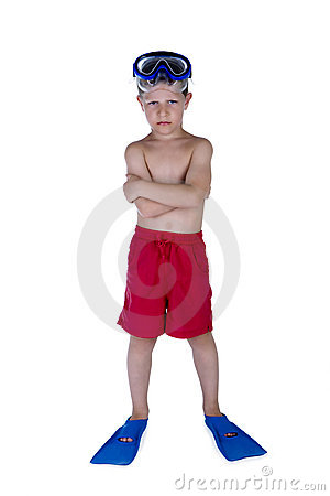 Young Serious Boy In Swimsuit And Snorkel Gear Royalty Free Stock Photos - Image: 15018408