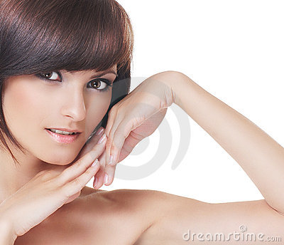 Young sexy brunette isolated over white background