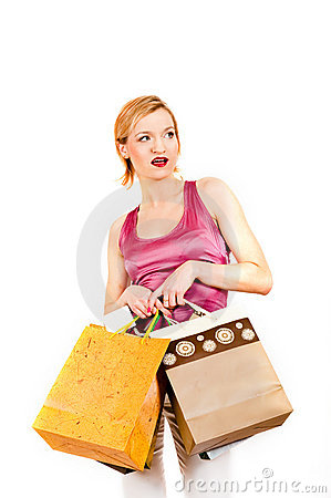 Young sexy casual shopping woman with bags
