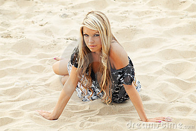 Young sexy girl crawling