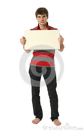 Young Sexy Man with Copy Space Blank Sign