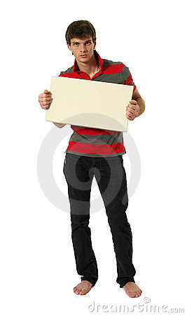Free Young Sexy Man With Copy Space Blank Banner Stock Photography - 13224262