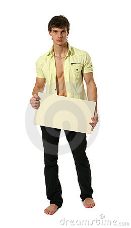 Free Young Sexy Man With Copy Space Blank Banner Royalty Free Stock Photos - 13268868