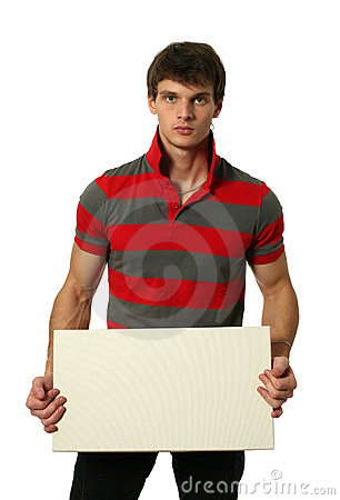 Free Young Sexy Man With Copy Space Blank Banner Royalty Free Stock Photos - 13268878