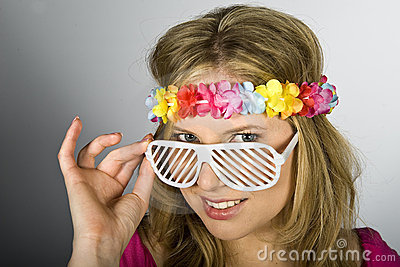 Young summer woman with funky glasses