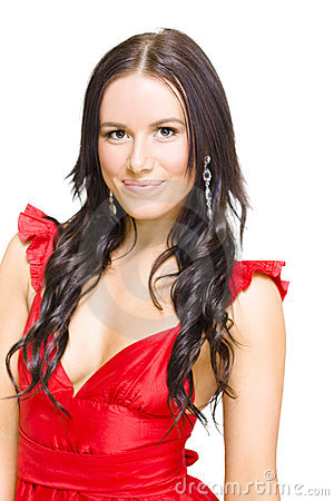 Young Sexy Woman With Brunette Hair In Red Dress