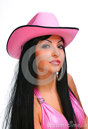 Young sexy woman in cowboy hat