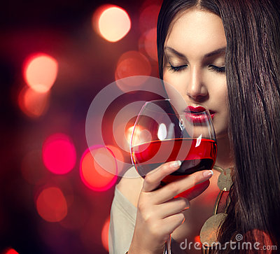 Free Young Sexy Woman Drinking Red Wine Royalty Free Stock Photo - 42041075