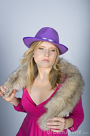 Young sexy woman with fur and hat