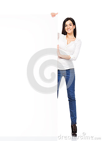 Free Young Sexy Woman In Denim Jeans Holding A Blank Banner Stock Photo - 40732540