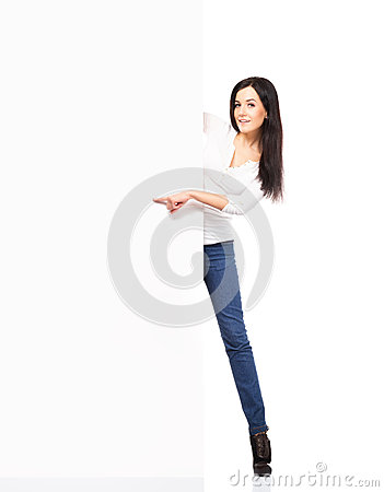 Free Young Sexy Woman In Denim Jeans Holding A Blank Banner Isolated Stock Photography - 41925442