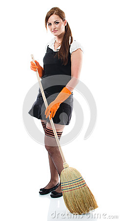 Young sexy woman sweeping the floor