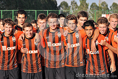 Young Shakhtar teams portraits Editorial Stock Photo