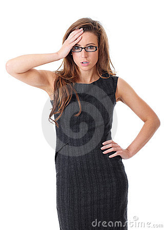 Young shocked businesswoman over white background