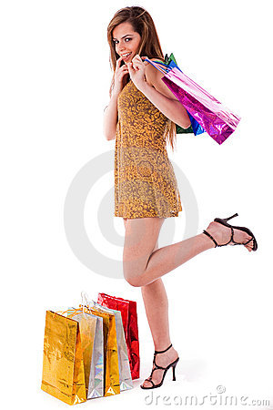 Young shopaholic women