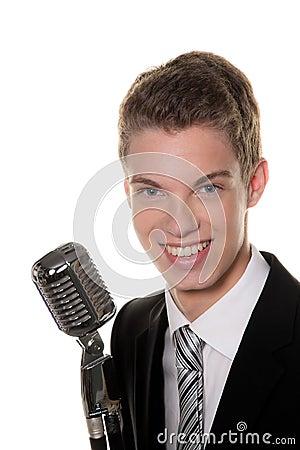 Young singer with retro mic sing karaoke