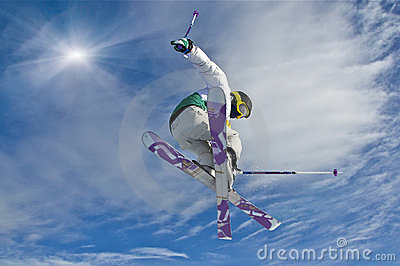 Young skier jumping #2