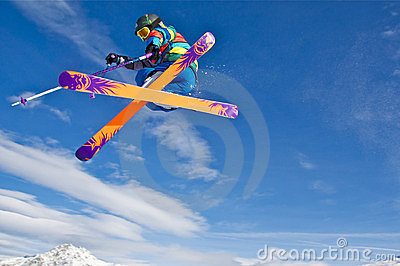 Young skier jumping