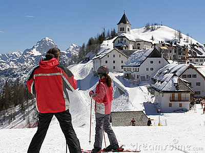 Young skiers viewing panorama