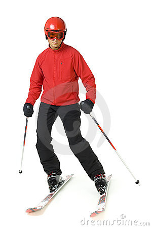 Young skiing man