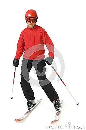 Young skiing man